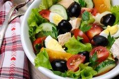 Insalata di verdure con il pollo e le uova Immagini Stock Libere da Diritti