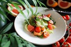 Insalata di verdure con il pompelmo ed il salmone Fotografia Stock Libera da Diritti