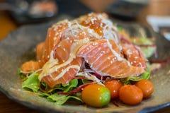 Insalata di verdure con il salmone affumicato Fotografie Stock Libere da Diritti