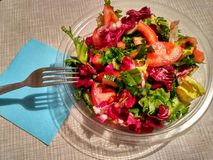Insalata di verdure in piatto trasparente Fotografia Stock Libera da Diritti