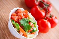 Insalata di verdure, pomodori del ramoscello Fotografia Stock Libera da Diritti