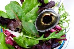 Insalata e cucchiaio organici dell'olio di oliva Fotografie Stock