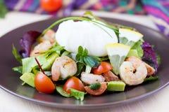 Insalata fresca con i gamberetti, pomodori, erbe, avocado, uovo affogato immagini stock libere da diritti