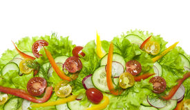 Insalata fresca con i ravanelli, i pomodori ciliegia ed i cetrioli Immagine Stock