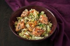 Insalata fresca con il cavolo, la carota, il pollo, il coriandolo ed i semi di sesamo di napa Fotografia Stock Libera da Diritti