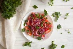 Insalata fresca con il pomodoro, la cipolla ed il basilico Fotografia Stock