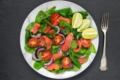 Insalata fresca con il salmone, gli spinaci, i pomodori ciliegia, la cipolla rossa ed il basilico in piatto di marmo con la force immagine stock libera da diritti