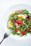 Insalata fresca con il tonno, i pomodori, le uova, la rucola e la senape sulla vista superiore del fondo strutturato bianco Immagini Stock Libere da Diritti
