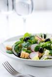 Insalata fresca con le olive, i gamberetti, i limoni e la salsa Immagini Stock