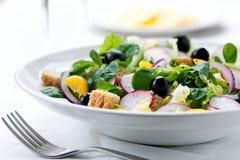 Insalata fresca con le olive, i gamberetti, i limoni e la salsa Fotografia Stock Libera da Diritti