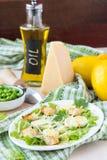 Insalata fresca della molla con lattuga, uova, formaggio, crostini, verdi fotografie stock