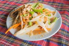 Insalata marinata del granchio o insalata della papaia (tum) del som, Tailandia Fotografie Stock