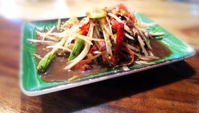 Insalata piccante, alimento tailandese della papaia Fotografia Stock