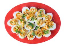 Insalata piccante degli uova sode molli fotografia stock