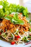 Insalata piccante dei vermicelli del riso Fotografie Stock Libere da Diritti