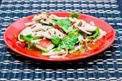 Insalata piccante della carne di maiale con le verdure Immagini Stock Libere da Diritti