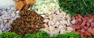Insalata piccante della carne di maiale di vetro della tagliatella (Yum Woon Sen) Fotografia Stock