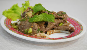 Insalata piccante tailandese del fegato Immagine Stock