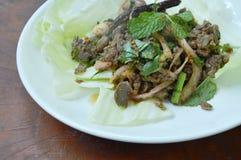 Insalata piccante tailandese della carne dell'anatra di taglio e cavolo fresco sul piatto immagini stock libere da diritti
