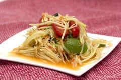 Insalata piccante tailandese della papaia Fotografie Stock