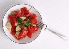 Insalata rossa del prezzemolo e del pomodoro isolata su bianco Immagini Stock Libere da Diritti