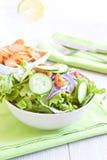 Insalata sana con il pomodoro, la cipolla, il cetriolo e la lattuga Fotografie Stock Libere da Diritti
