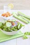 Insalata sana con il pomodoro, la cipolla, il cetriolo e la lattuga Fotografia Stock