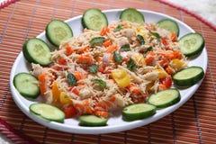 Insalata seviyan di Veg del ragi, insalata di Veg dei vermicelli del miglio africano, insalata di Semiya Veg del ragi fotografia stock libera da diritti