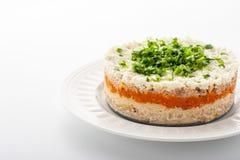 Insalata stratificata con le uova ed il pesce sull'orizzontale ceramico bianco del piatto Immagine Stock