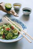 Insalata tailandese del cetriolo con sesamo ed il peperoncino rosso Immagine Stock