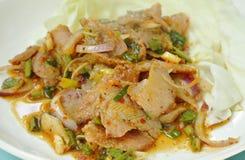 Insalata tailandese della carne di maiale arrostita piccante con cavolo fresco sul piatto immagini stock libere da diritti