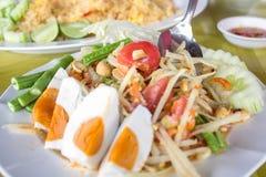 Insalata tailandese della papaia Alimento tailandese tradizionale Fotografia Stock Libera da Diritti