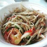 Insalata tailandese della papaia dell'alimento Immagine Stock