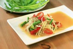 Insalata tailandese originale della papaia Fotografia Stock