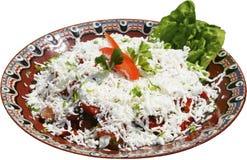 Insalata tradizionale con i pomodori, il formaggio ed i peperoni Fotografia Stock Libera da Diritti