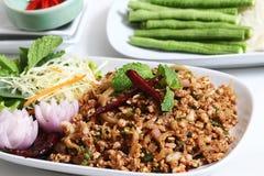Insalata tritata piccante tailandese della carne di maiale Fotografia Stock Libera da Diritti