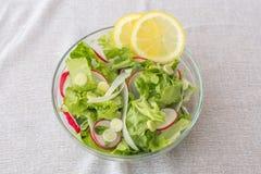 Insalata vegetariana sana deliziosa della lattuga, con il ravanello, l'aglio della molla, le fette del limone ed il basilico ross Fotografia Stock
