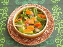 Insalata verde con il pesce di color salmone Fotografia Stock