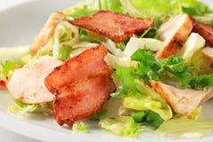 Insalata verde con il pollo e la pancetta affumicata Fotografie Stock
