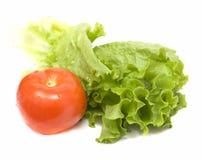 Insalata verde con il pomodoro rosso immagini stock libere da diritti