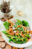 Insalata verde con la rucola, il mais, le carote ed i ceci al forno guar fotografia stock