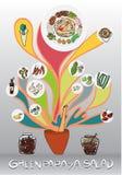 Insalata verde disegnata a mano e grafica della papaia Immagini Stock Libere da Diritti