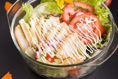 Insalata verde fresca con il backgrou fresco di estate della lattuga e del pollo immagine stock