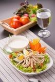 Insalata verde fresca con il backgrou fresco di estate della lattuga e del pollo fotografia stock libera da diritti