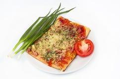 Insalata, verdure e pizza Fotografie Stock