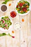 Insalate della miscela Vegano, vegetariano, cibo pulito, stante a dieta, concetto dell'alimento immagini stock