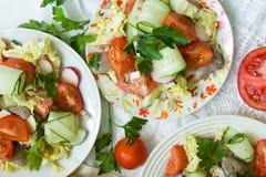 Insalate delle verdure e del fegato di pollo immagine stock libera da diritti