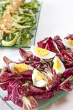 Insalate, salmone, verdure organiche, uova sode Immagine Stock
