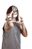 Insane horror man. Insane horror masked man gesturing, isolated on white background Stock Images