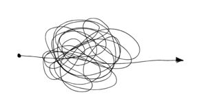 Insane random line. Complicated clew way. Tangled scribble vector path. Chaotic difficult process stock illustration